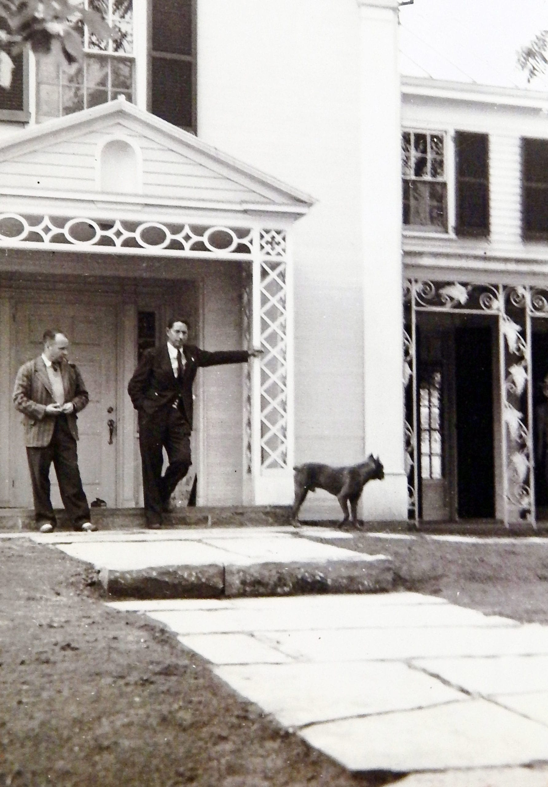 Louis Lamoreux with Louis Bromfield – probably late 1940 or early 1941. Note that the Ganesh statue has not yet been added to the niche above the entrance.