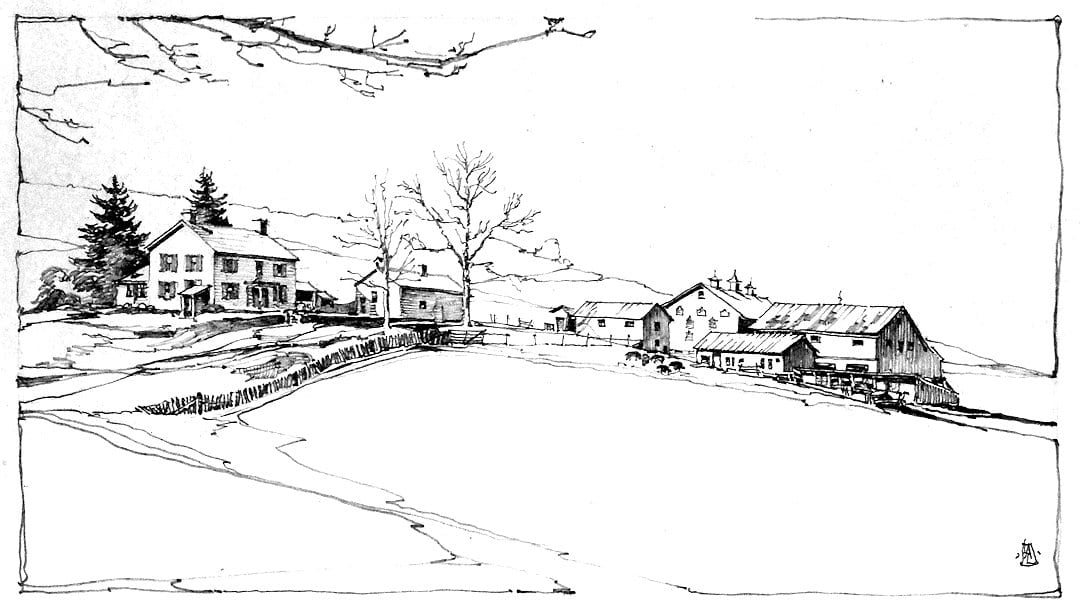 Pencil drawing by Lamoreaux of Herring Homestead before construction of Big House.