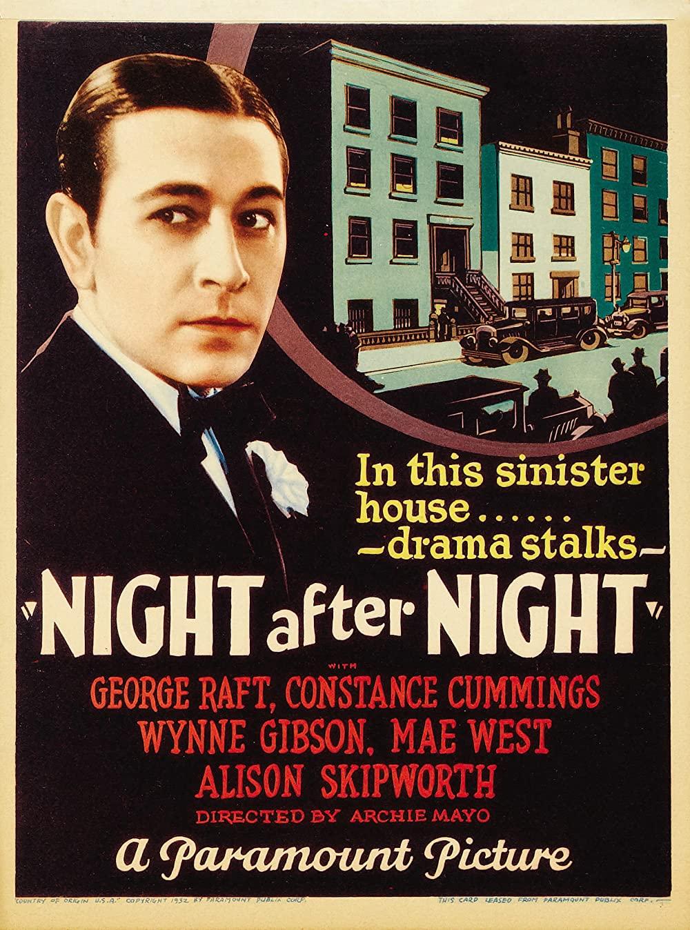 "1932 Night After Night (story ""Single Night"") Poster"