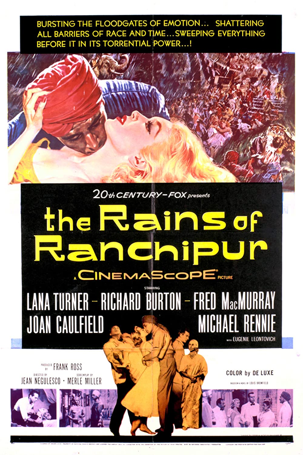 """1955 The Rains of Ranchipur (novel """"The Rains Came"""") poster"""