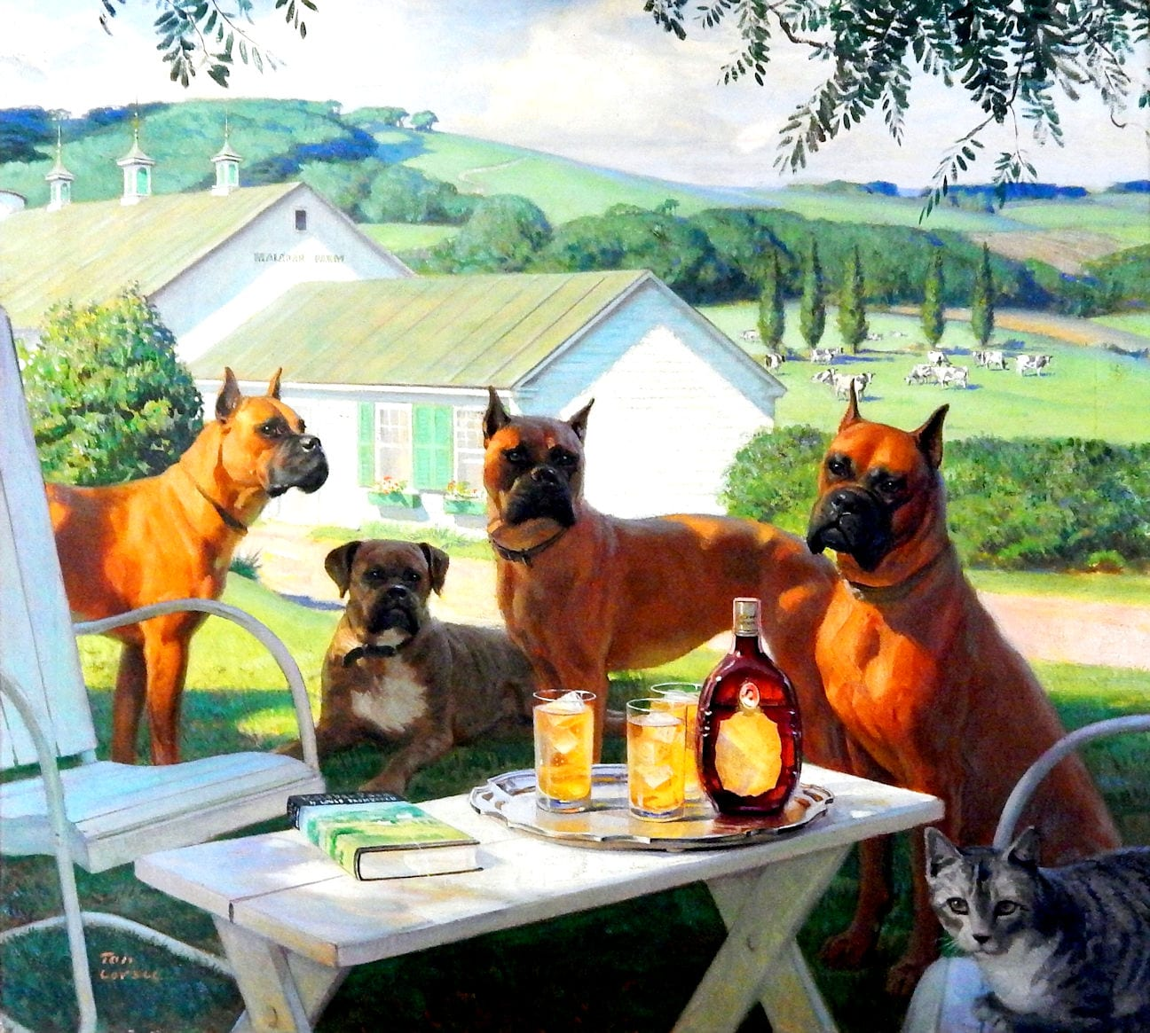 Tom Lovell painting of boxer dogs